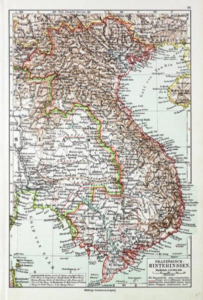 Vietnam Drawing - Map Of Vietnam Cambodja Laos 1899 by English School