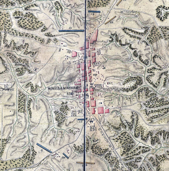William And Mary Photograph - Map Of Williamsburg In Virginia. The by Everett