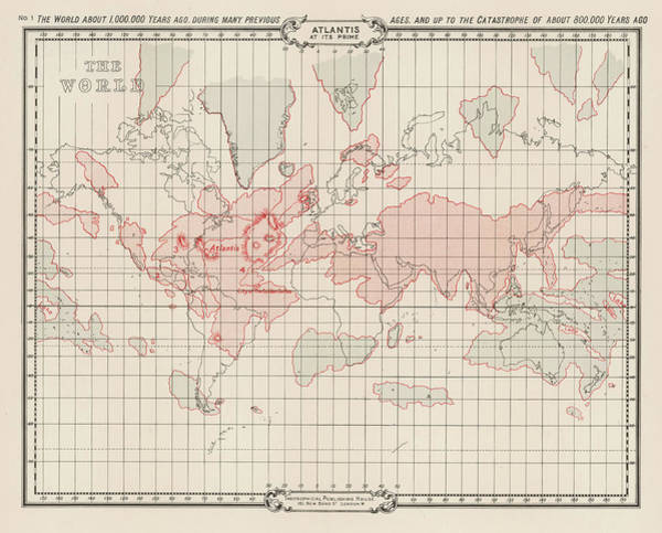 Folklore Drawing - Map Showing Atlantis During The Period by Mary Evans Picture Library