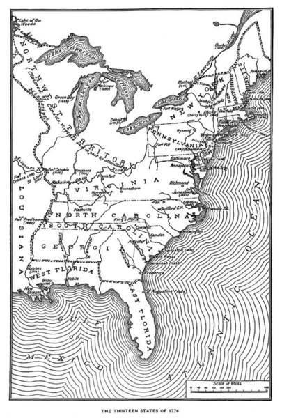 Northwest Florida Painting - Map Thirteen States by Granger