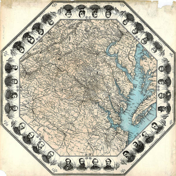 Wall Art - Painting - Map Virginia, C1862 by Granger