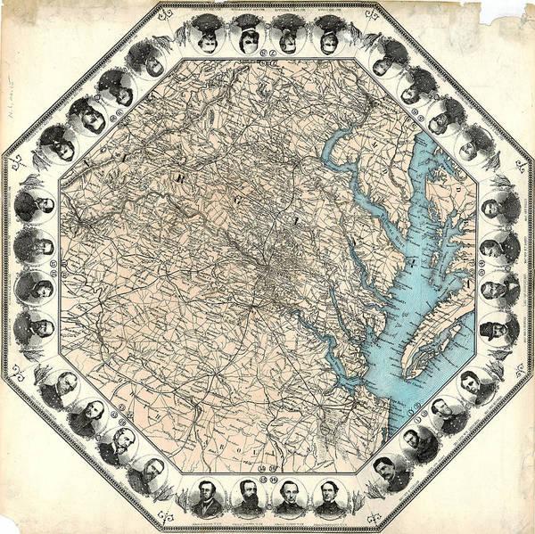 William Tecumseh Sherman Painting - Map Virginia, C1862 by Granger