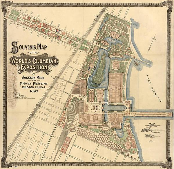 Wall Art - Photograph - Map: Worlds Fair, 1893 by Granger