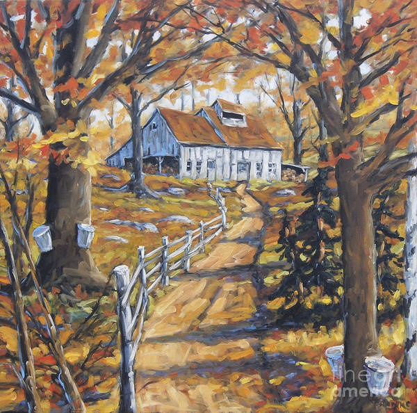 In Canada Painting - Maple Sugar Bush  Road By Prankearts by Richard T Pranke