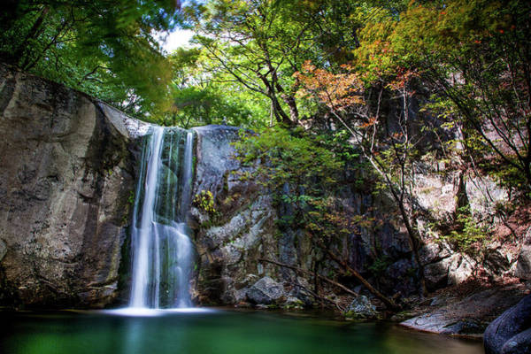 Bell Rock Photograph - Maples & Waterfall Chuncheon Of Korea by By Bell Chan