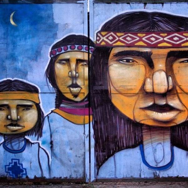 Painting - Mapuche Chilean Aborigine Graffiti's by Sandra Lira
