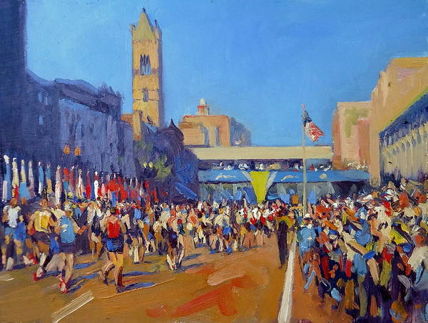 Boston Marathon Wall Art - Painting - Marathon Finish by Dianne Panarelli Miller