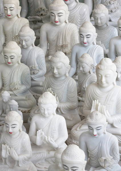 Art And Craft Photograph - Marble Buddha Images At A Stone Carvers by Lee Frost / Robertharding