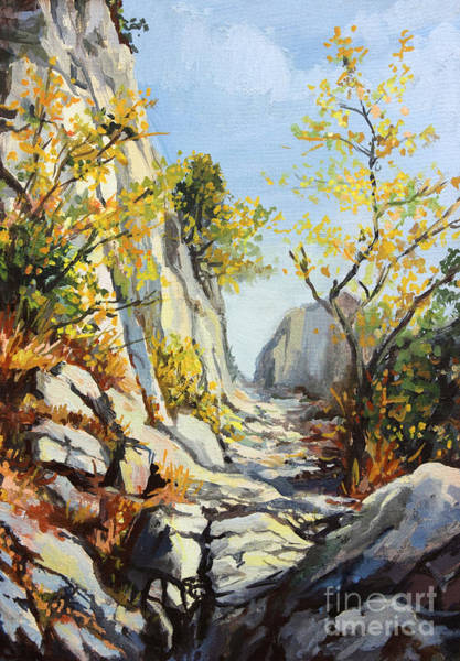Wall Art - Painting - Marble Path In The Autumn by Kiril Stanchev