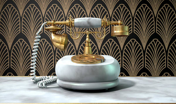 Shelves Digital Art - Marble Telephone And Art Deco Scene by Allan Swart