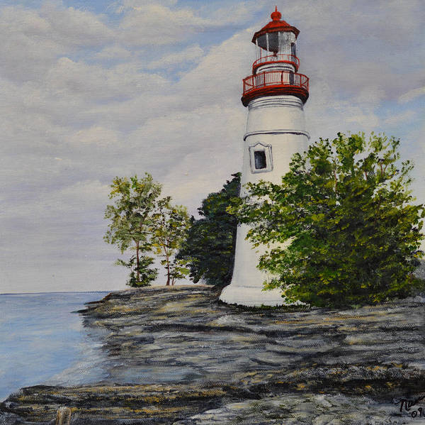 Painting - Marblehead Light House On Lake Erie by Nancy Lauby