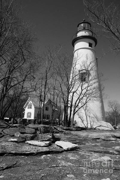 Photograph - Marblehead Lighthouse Bw by Mel Steinhauer