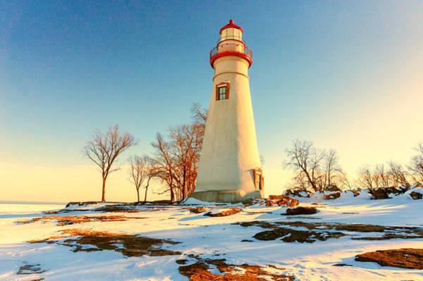 Photograph - Marblehead Ohio Lighthouse Sun And Snow by Richard Kopchock