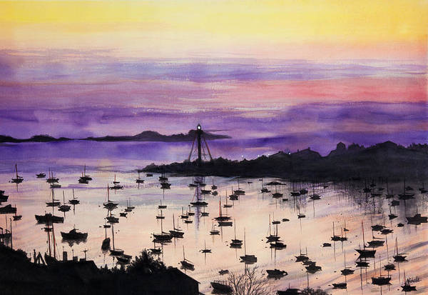 Painting - Marblehead Sunset Watercolor by Michelle Constantine