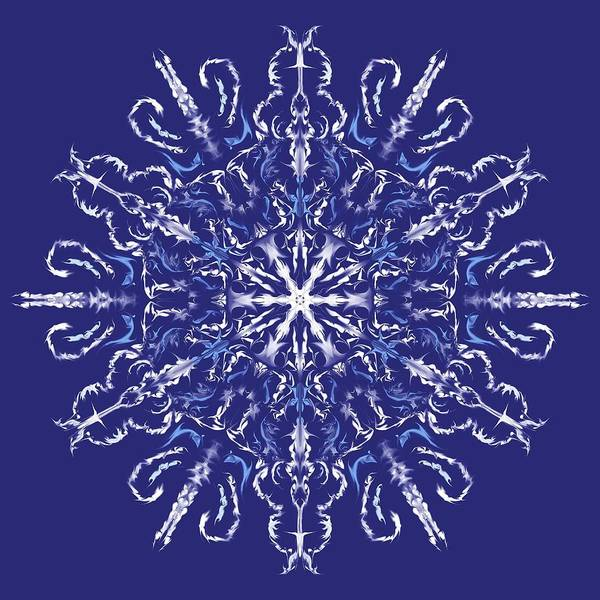 Digital Art - Marbleized Snowflake Kaleidoscope by MM Anderson