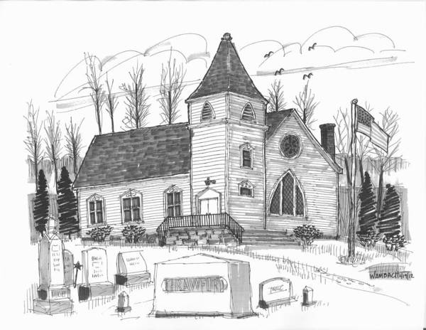 Drawing - Marbletown Church by Richard Wambach