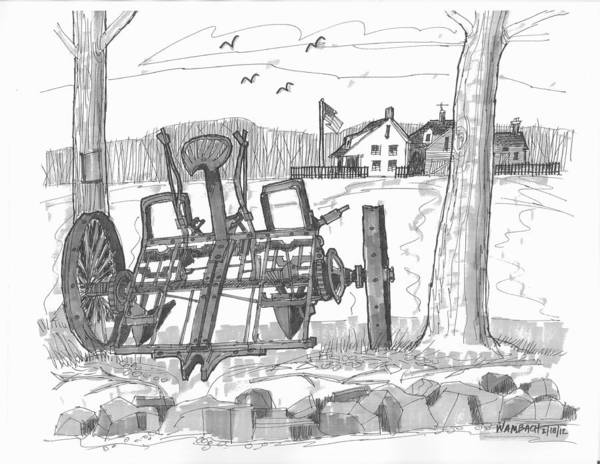 Homestead Drawing - Marbletown Farm Equipment by Richard Wambach