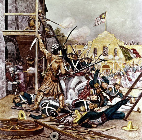 Lone Star Painting - March 6 1836 Davy Crockett Fighting by Vintage Images