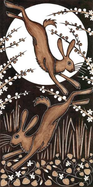 Printmaking Wall Art - Photograph - March Hares, 2013 Woodcut by Nat Morley