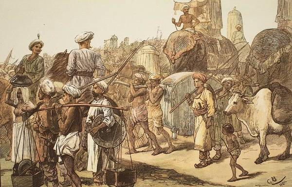 Colour Drawing - March Of The Indian Army, Engraved by Gordon Frederick Browne