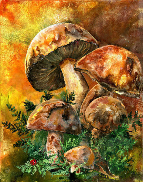 Painting - March Of The Mushrooms by Sherry Shipley