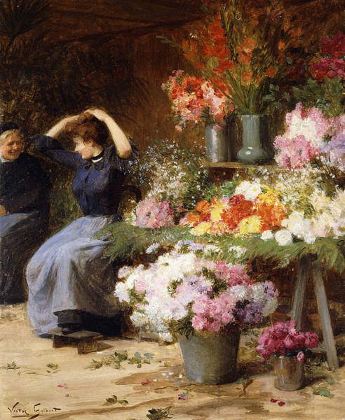 Flower Shop Painting - Marchande De Fleurs by Victor Gabriel Gilbert