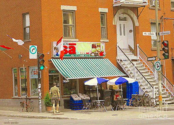 Painting - Marche Sa Cafe Latin Quarter Epicerie Boucherie Brazilian Products Montreal Art City Scene C Spandau by Carole Spandau