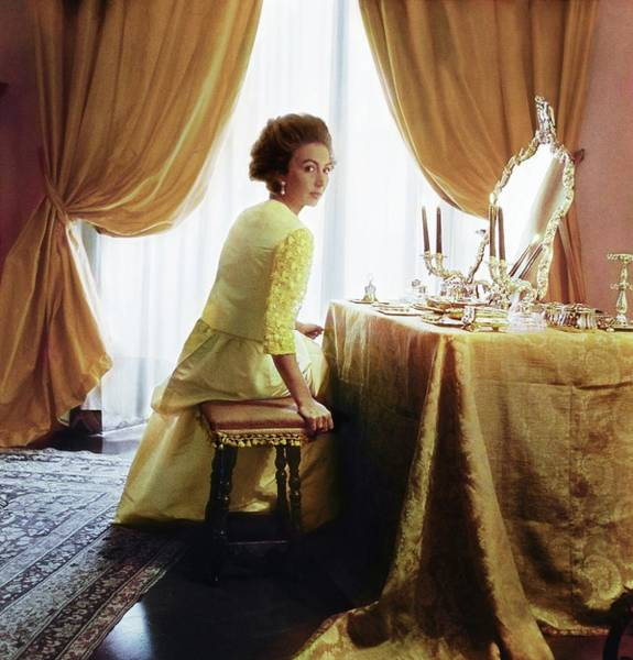 Mirror Photograph - Marchesa Cristina Pucci In A Pucci Dress by Horst P. Horst