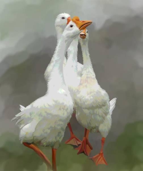 Goose Digital Art - Marching Geese by Karen Sheltrown