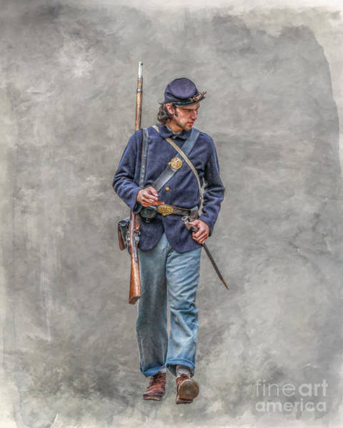 Marching Digital Art - Marching Union Soldier Ver Three by Randy Steele