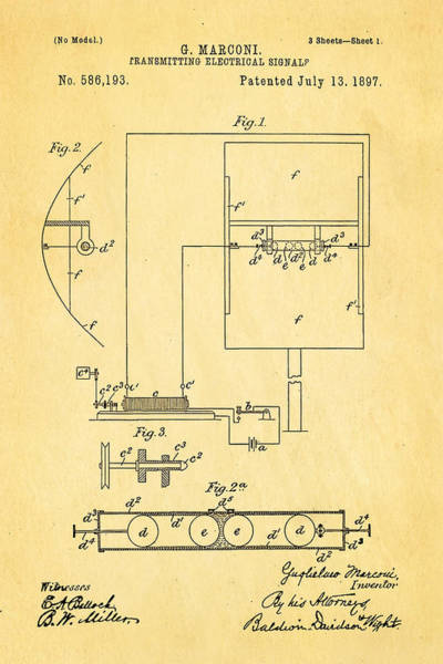 Inventor Photograph - Marconi Radio Patent Art 1897 by Ian Monk