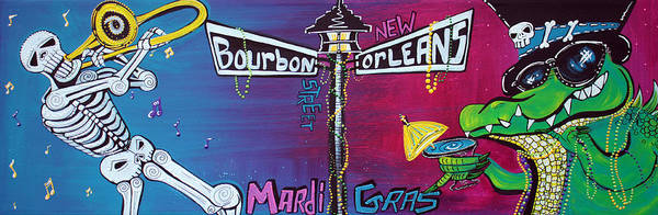 Southern Charm Painting - Mardi Gras Celebration by Laura Barbosa