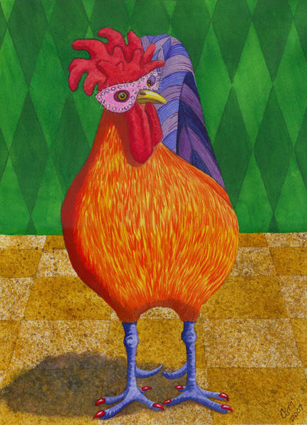 Painting - Mardi Gras Chicken by Catherine G McElroy