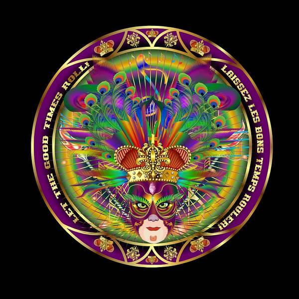Fleur Digital Art - Mardi Gras King 1 Throw Pillow by Bill Campitelle
