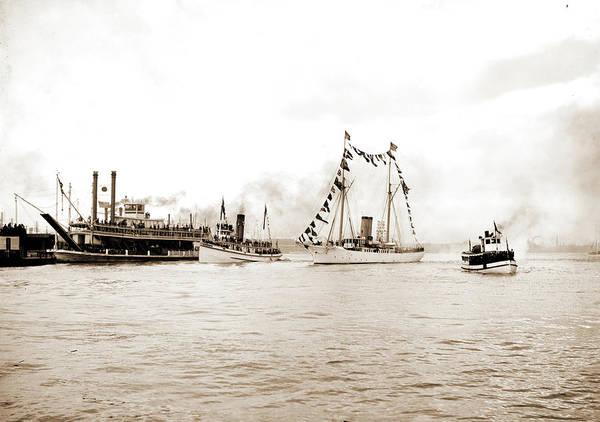 Mississippi River Drawing - Mardi Gras, New Orleans, Approach Of Fleet With Rex by Litz Collection