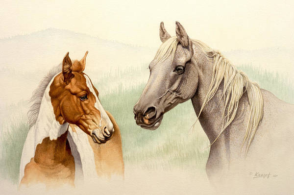 Wall Art - Painting - Mare And Colt by Paul Krapf
