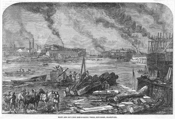 Wall Art - Drawing - Mare And Company's Iron Ship- Building by  Illustrated London News Ltd/Mar