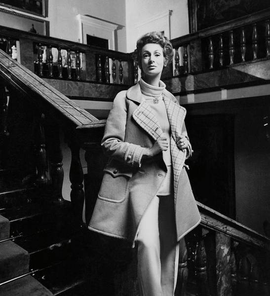 Western Society Photograph - Marella Agnelli Wearing A Courreges Raincoat by Henry Clarke
