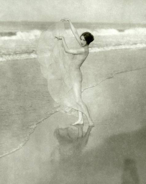 Photograph - Margaret Severn On A Beach by Arnold Genthe