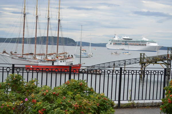 Bar Tender Photograph - Margaret Todd And Cruise Ship In Bar Harbor Port by Lena Hatch