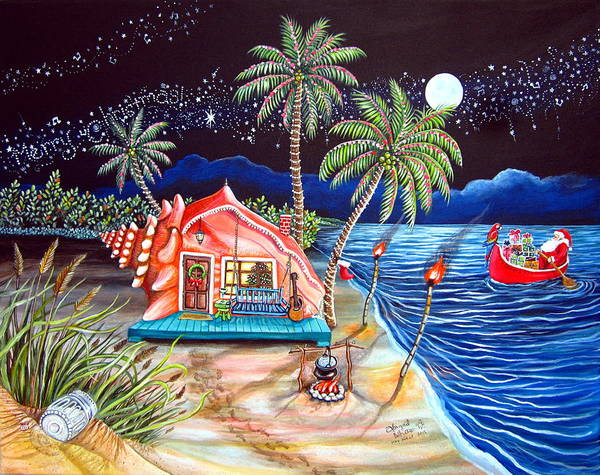 Red Moon Painting - Margaritaville Conch Christmas by Abigail White