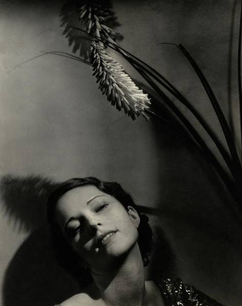 Flower Head Photograph - Marguerite Churchill With A Flower by Edward Steichen