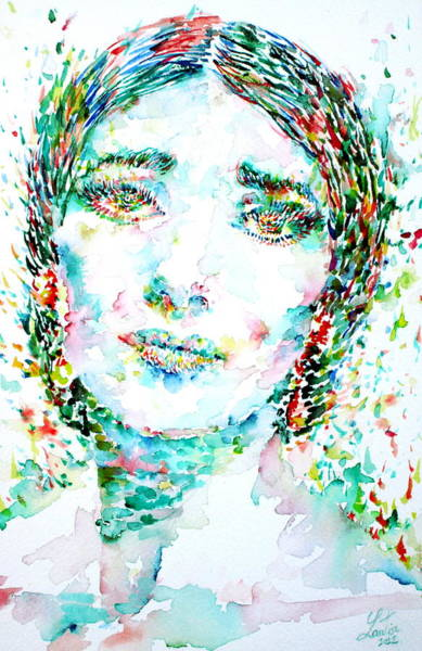 Opera Singer Painting - Maria Callas - Watercolor Portrait.1 by Fabrizio Cassetta