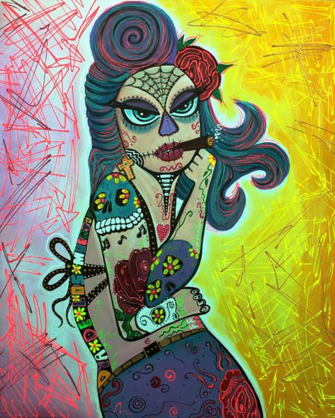 Wall Art - Painting - Maria De Los Muertos 2 by Laura Barbosa