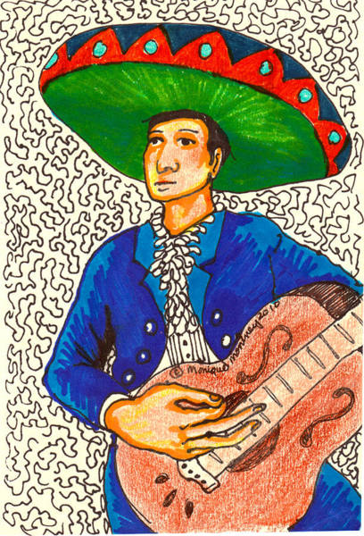 Mariachi Drawing - Mariachi by Monique Montney
