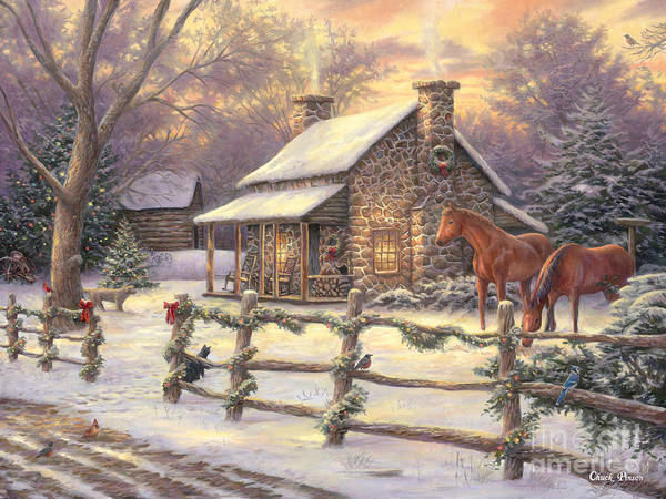 Houses Painting - Marianne's Winter Hideaway by Chuck Pinson