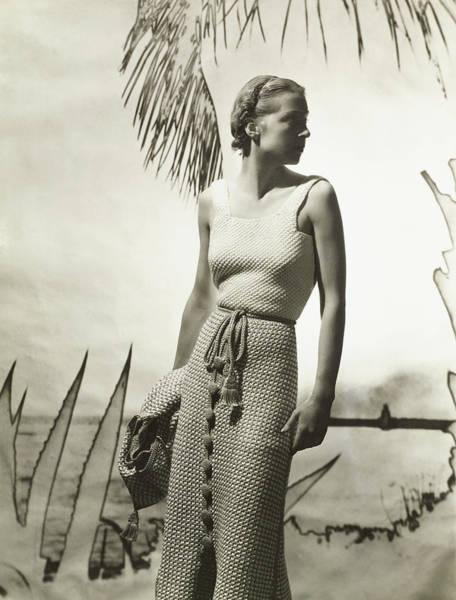 Wall Art - Photograph - Marie-claude Vogel Wearing A Hermes Dress by Horst P. Horst