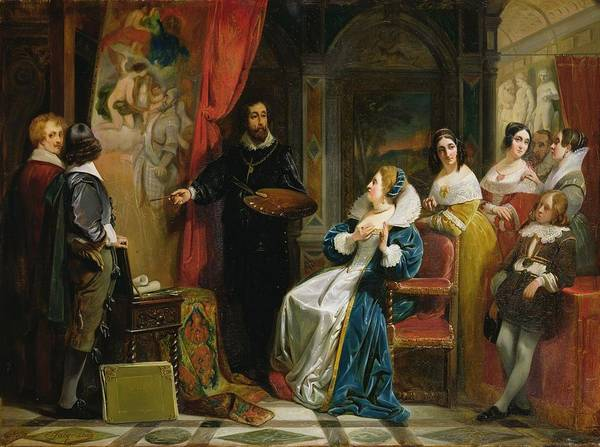 Palette Photograph - Marie De Medici 1573-1642 Visiting The Studio Of Rubens, 1839 Oil On Canvas by Claude Jacquand