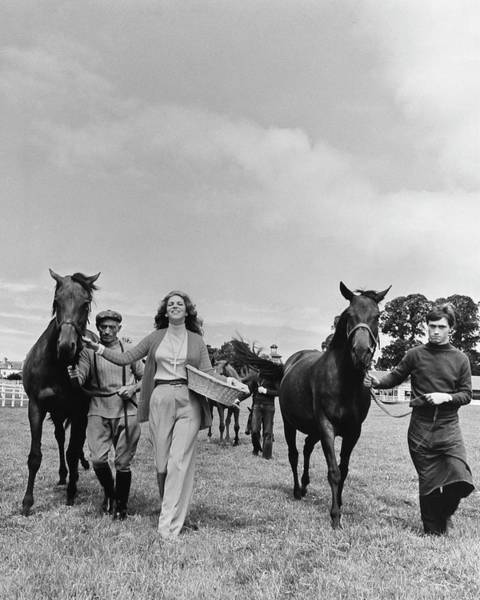 People Walking Photograph - Marie-helene De Rothschild With Horses And Stable by Henry Clarke