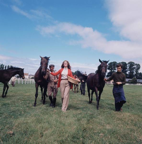 Horse Racing Photograph - Marie-helene De Rothschild With Horses by Henry Clarke
